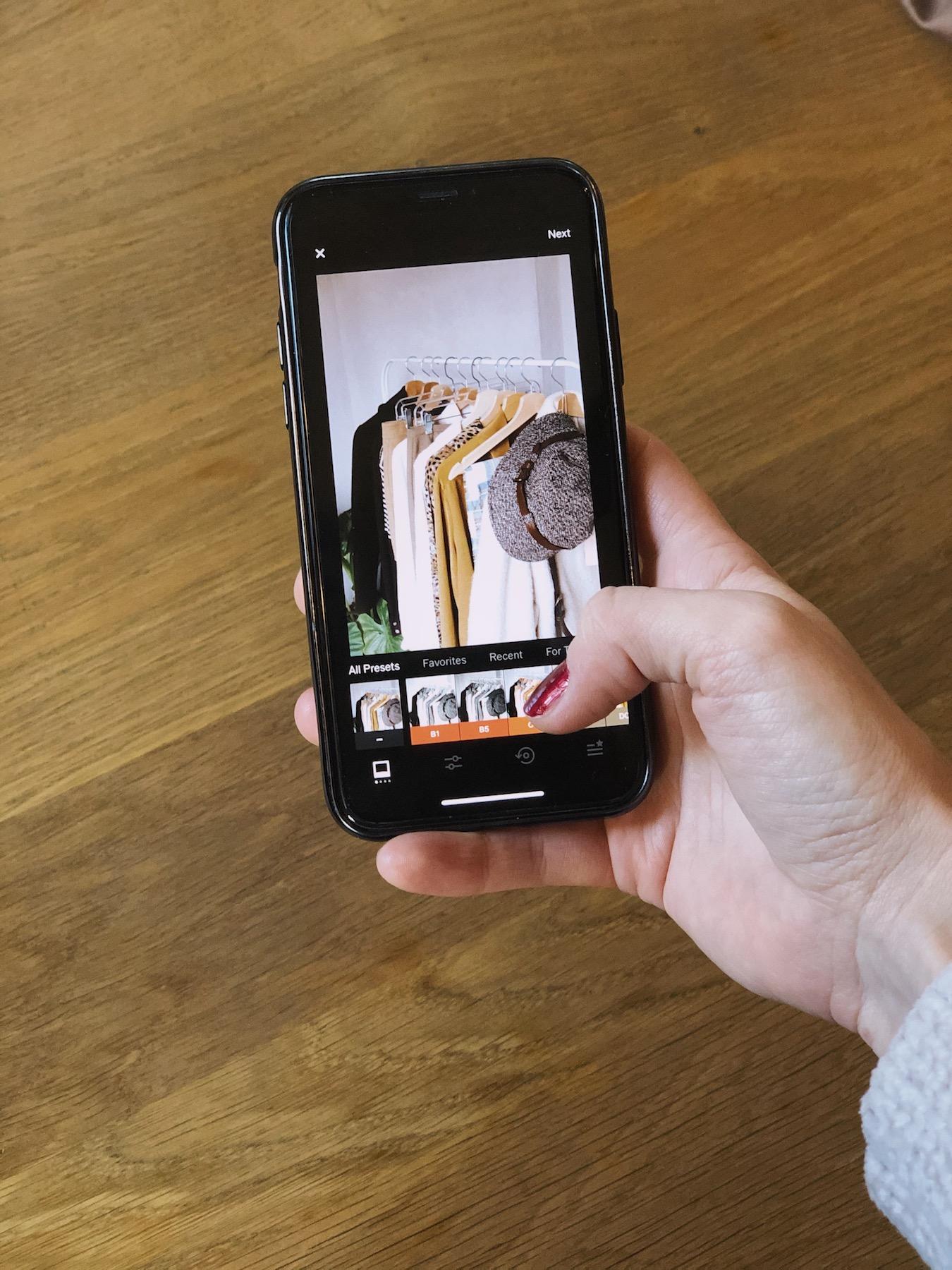 Uređivanje fotografije na VSCO aplikaciji na telefonu